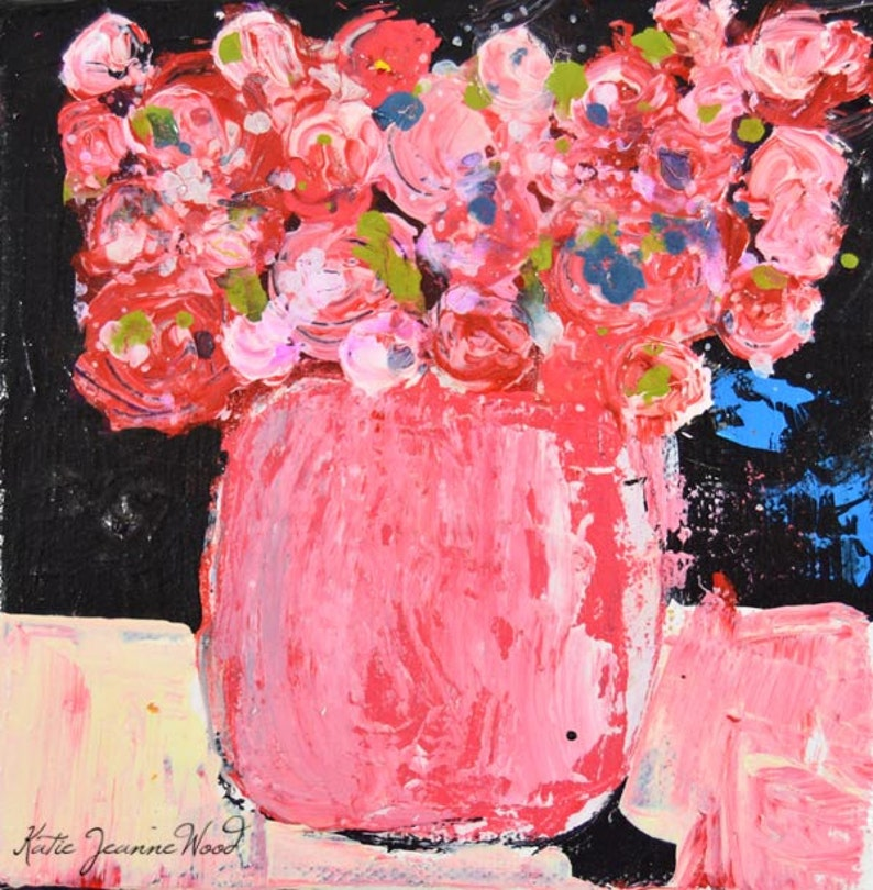Romantic Gifts for Her Pink Roses Palette Knife Painting image 0