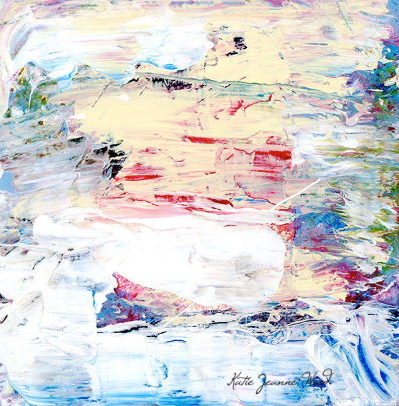 Abstract Cottage Chic Painting Print. White Pink Yellow Blue. image 0