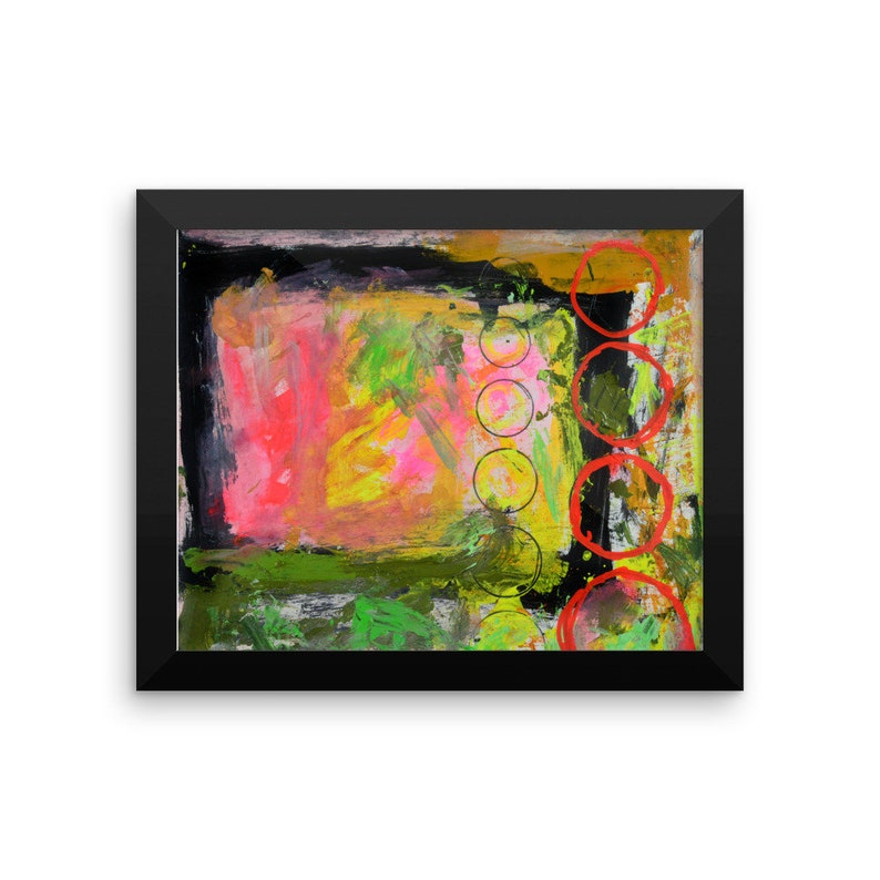 Framed Pink Abstract Print. Abstract Painting Print. image 0