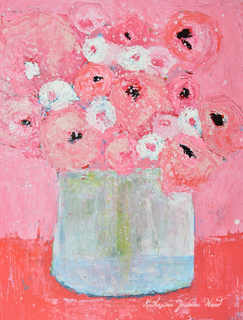 Pink Shabby Cottage Chic Flower Painting Print No 299 image 0