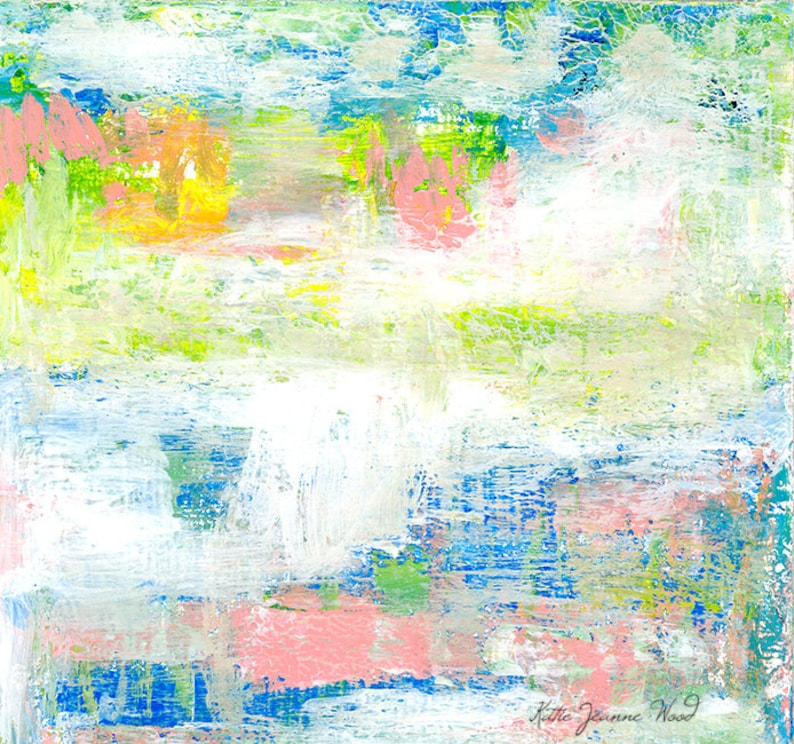 Blue Green Abstract Bedroom Wall Art Painting Print image 0