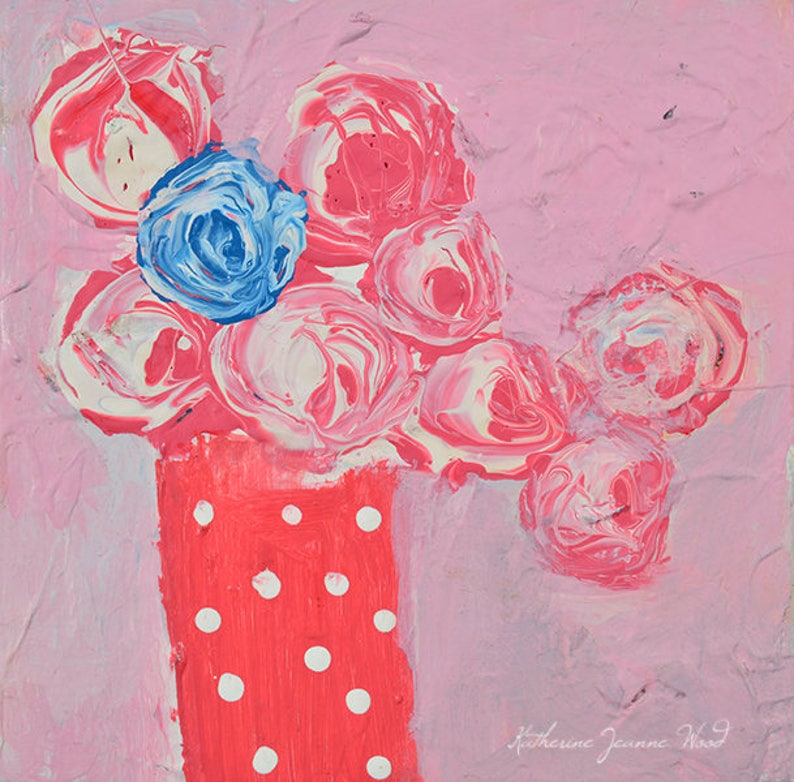 Shabby Chic Wall Art  Pink Roses Painting. No 95 image 0