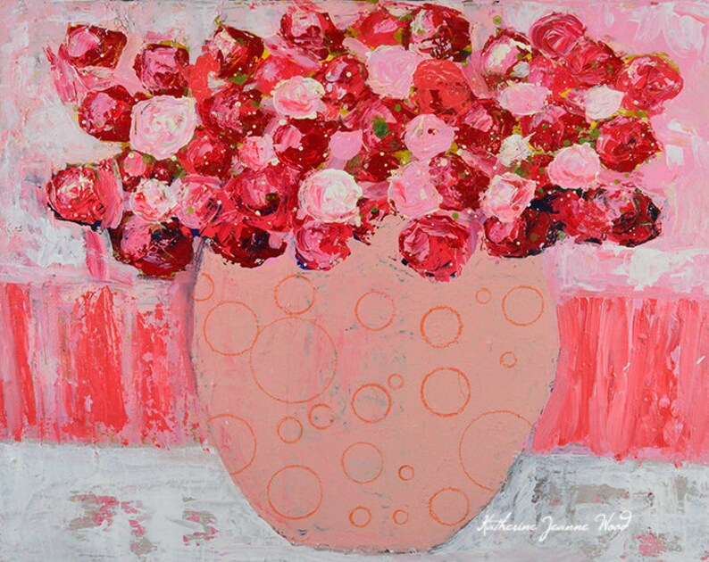 11x14 Acrylic Mixed Media Painting Pink Roses Painting image 0