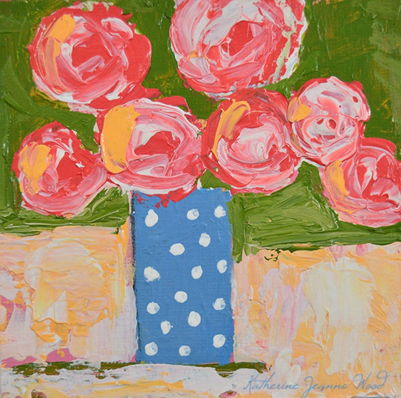 Pink Roses Floral Painting Prints  Cottage Chic Decor. No 285 image 0