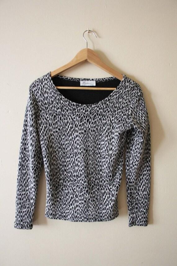 T shirt vintage léopard métallique