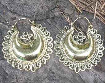 Brass Moon Mandala Earrings - Boho Earrings, Ethnic Earrings, Tribal Earrings, Gypsy Earrings, Bellydance Earrings EB45