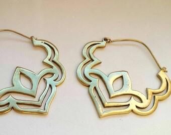 Lovely Brass Lotus Earrings - Tribal Earrings, Ethnic Earrings, Boho Earrings, Funky Earrings, Gypsy Earrings, Bellydance Earrings EB51