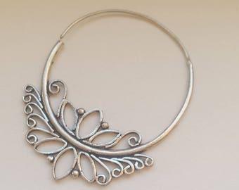 Silver Plated Delicate Lotus Hoop Earrings - Tribal Hoop Earrings, Boho Earrings, Gypsy Hoop Earrings, Bellydance, Ethnic Earrings SP28