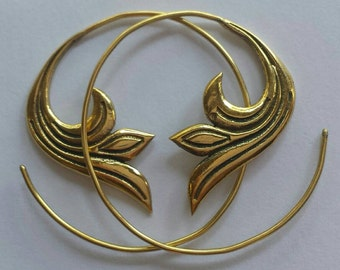 Brass Small Spiral Delicate Flower Earrings - Ethnic Earrings, Boho Earrings, Funky,Tribal Earrings - EB5