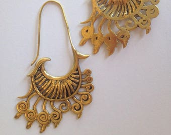 Stunning Tribal Cloud Brass Earrings - Tribal Earrings, Ethnic Earrings, Boho Earrings, Funky Earrings EB33