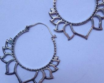 Large Silver Plate Lotus Hoop Earrings - Tribal Earrings, Ethnic Earrings, Boho Earrings, Gypsy Hoop Earrings, Bellydance Earrings SP36