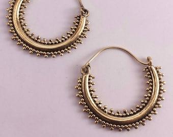 Tribal Brass Dotted Hoop Earrings - Boho Earrings, Ethnic Earrings ,Gypsy Earrings, Bellydance - EB6