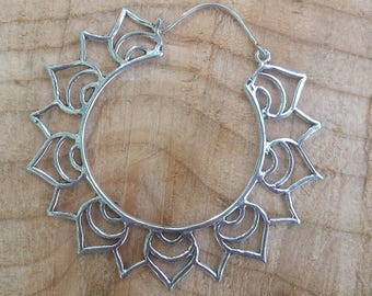 Large Silver Plate Hoop Earrings, Lotus Hoop Earrings, Tribal Earrings, Ethnic Earrings, Boho Earrings, Bellydance Earrings, ShivaDivaUK
