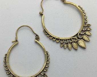 Brass Tribal Temple Design Earrings - Tribal Earrings, Boho Earrings, Ethnic Earrings, Funky Earrings, Gypsy Earrings, Bellydance EB195