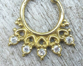 Fake Cheater Non Pierced Septum Nose Tragus Ring Brass with Rhinestone Crystals and Heart detail - Tribal, Ethnic, Boho, Funky,  Steampunk