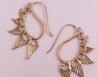 Brass Wing Hook Earrings - Ethnic, Boho, Funky, Tribal EB20