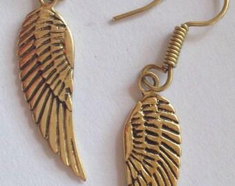 Brass Angel Wing Earrings - Spirit, Reiki, Gothic, Steampunk, Esoteric EB48