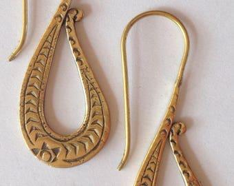 Tribal Brass Hook Earrings - Funky,Boho,Ethnic,Tribal,Gypsy,Bellydance EB65
