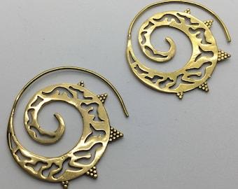 Tribal Brass Spiral Mandala Earrings - Tribal Earrings, Boho Earrings, Gypsy Earrings, Bellydance Earrings, Ethnic Earrings EB145