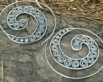 Silver Plated Spiral Filigree Earrings 5cm - Tribal, Ethnic, Boho, Funky, Gypsy, Bellydance SP3