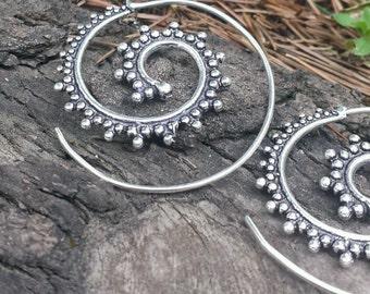 Silver Plated Spiral Ball Earrings 3.5cm - Tribal Earrings,Tribal Hoops, Ethnic Earrings, Boho Earrings, Gypsy Earrings, Bellydance SP10