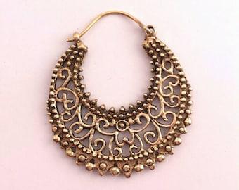 Ornate Brass Filigree Earrings  - Tribal,Ethnic,Boho,Funky,Gypsy,Bellydance EB15