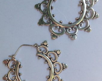 Beautiful Silver Plate Tribal Mandala Earrings - Tribal Earrings, Tribal Hoops, Ethnic Hoops, Boho, Funky, Gypsy Earrings, Bellydance SP51