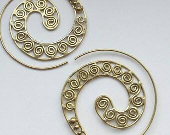 Large Spiral Brass Filigree Earrings - Funky, Boho, Ethnic, Tribal, Gypsy EB10