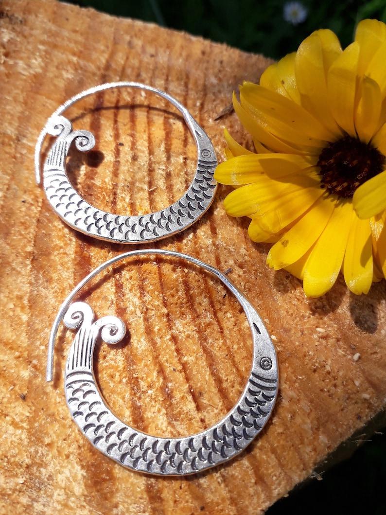 Tribal Earrings Hill Tribe Earrings Karen Hill Tribe Silver Earrings Boho Earrings Ethnic Earrings Silver Hoops HT30