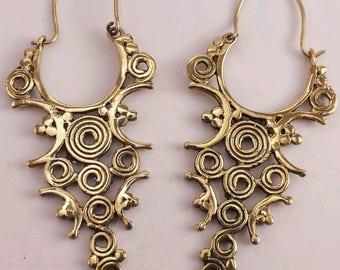 Ornate Spiral Design Brass Earrings - Tribal, Ethnic, Boho, Funky, Gypsy, Bellydance EB68