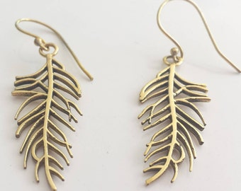 Small Brass Feather  Earrings - Boho, Funky, Ethnic, Tribal, Native Indian, Shaman EB98