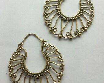 Brass Fancy Wirework Earrings - Ethnic, Boho, Funky, Gypsy, Bellydance EB13