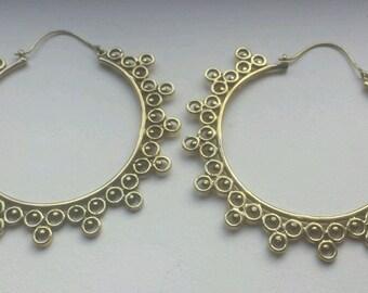 Large Brass Mandala Earrings - Tribal, Ethnic, Boho, Funky, Gypsy, Bellydance EB29