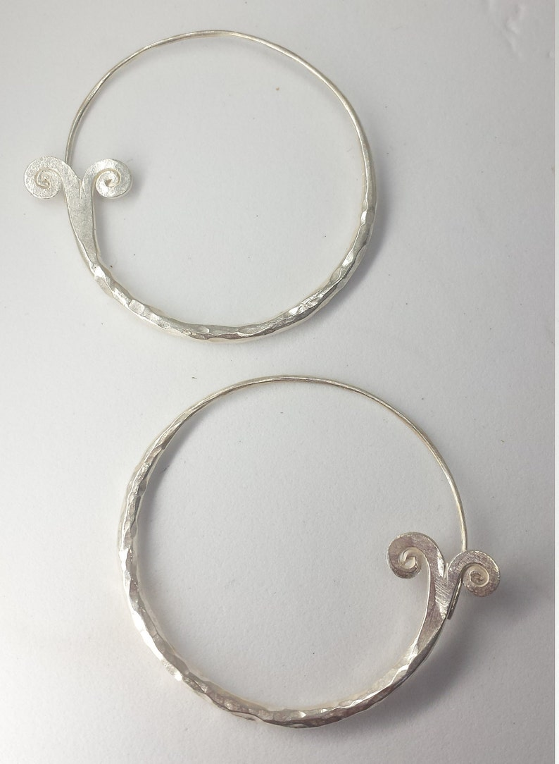 HT13 Boho Earrings Ethnic Earrings Hill Tribe Earrings Karen Hill Tribe Silver Fishtail Hoop Earrings Gypsy Earrings Tribal Earrings