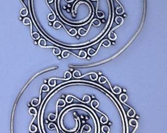 Silver Plated Spiral Tribal Filigree Earrings - Ethnic, Boho, Funky, Gypsy, Bellydance SP11