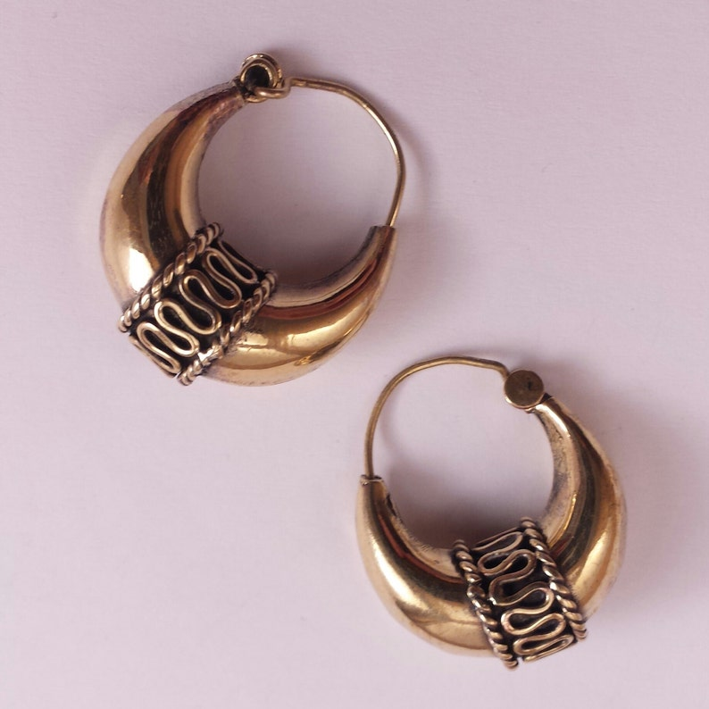 b1ec9e023 Brass Tribal Hoop Earrings Tribal Earrings Boho Earrings | Etsy