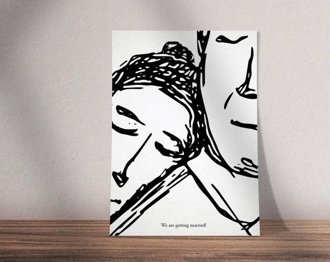 Print ready illustrated wedding invitation 'head on shoulder' | Black and white invite | Minimal design