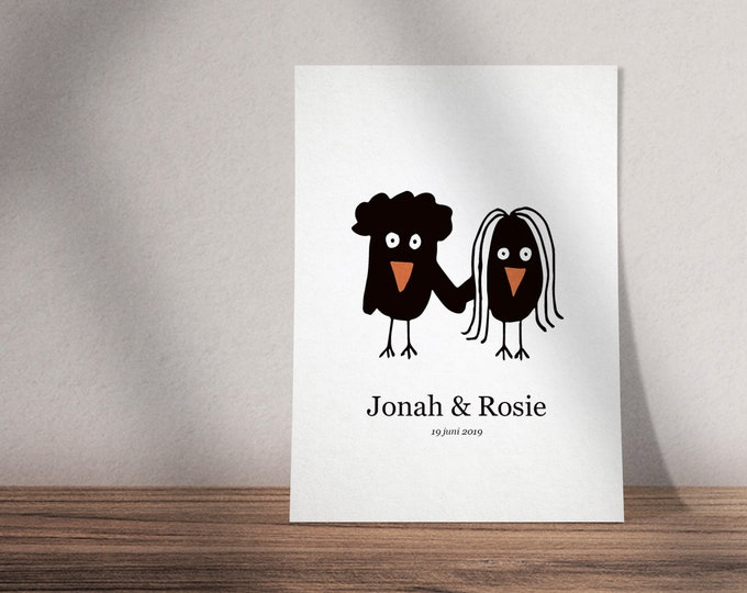 Print ready illustrated wedding invite with birds | Custom design possible | Black and white invitation