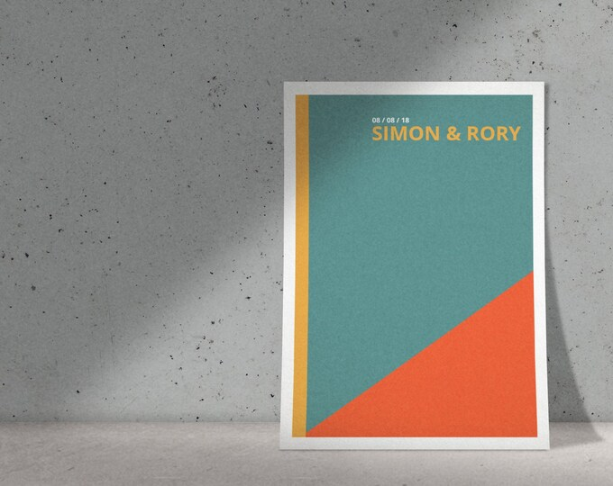 Print ready color blocking wedding Invitation | Colorful and geometric design | pdf