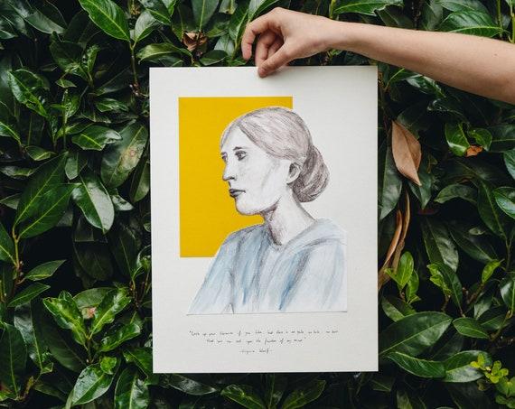 Virginia Woolf portrait and quote | original artwork