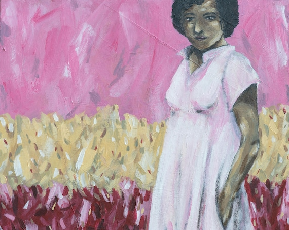 In The Middle | Portrait of Girl with Pink Dress | Nature | Landscape | Available as Original Acrylic Painting, Print or Download
