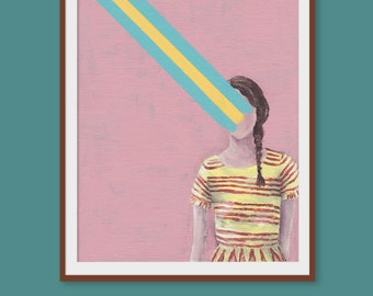 Printable Art 'Let Go' | Portrait of Girl with Braid | Colorful | Pink Background | Instant Download A3 PDF