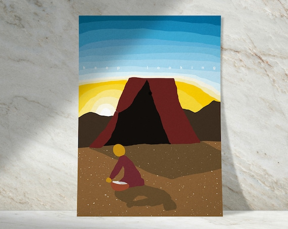 Gathering Little Treasures | Buy One & Give One Away Free | Manna and Israelites | Available as Art Print or Download