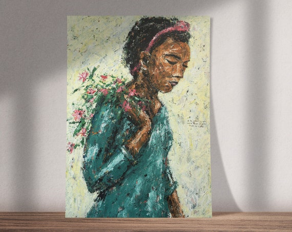 I've Made a Lot of Mistakes | Buy One & Give One Away Free | Portrait of Girl with Flowers | Original Painting, Print or Download