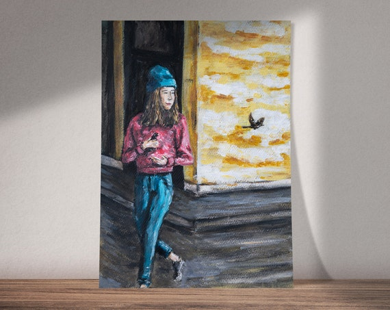 Wait For Me | Girl Holding Birds in Her Hands | Available as Original Painting, Print or Download