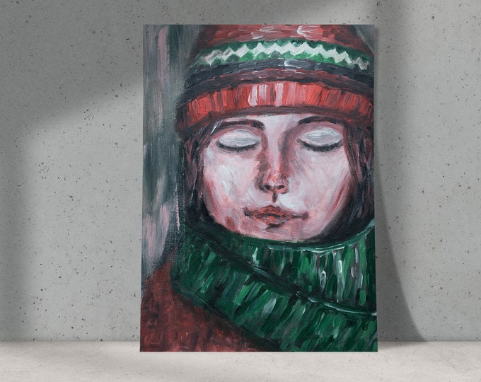 I Smell Snow | Buy One & Give One Away Free | Tribute to Winter | Woman with scarf and warm hat | Original Painting, Art Print or Download
