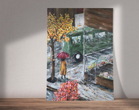 Slip Into Rain | Art on by The Innocence Mission Song 'Green Bus' | Buy One & Give One Away Free | Autumn Painting | Print or Download