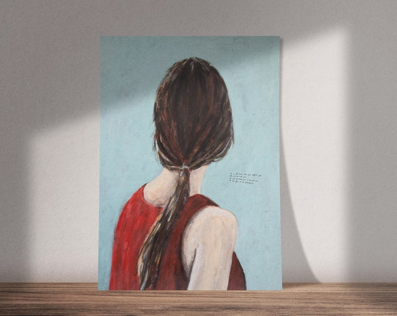 Art on Deuteronomy 31:8 | Buy One & Give One Away Free | Portrait of Woman From The Back | Available as Original Painting, Print or Download