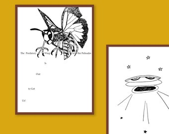 Printable Sufjan Stevens' Illinois Album Illustrations | 22 Songs in Black and White Drawings | Instant Download A4 PDF