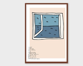 Printable Illustration Inspired by Wendell Berry's Jayber Crow | A Window | Sea View and Poem | A3 Instant Download PDF